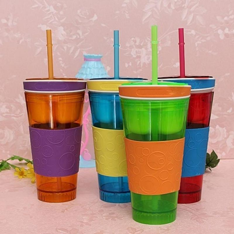 Cute Convenient Travel Snack Drink Cup In One Container Lid Straw Kids Snack Bottle(China (Mainland))