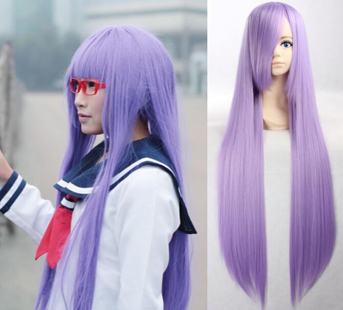 100cm Long Straight Light Purple Wig Anime Reisen Udongein Inaba Saint Seiya Athena Hiiragi Kagami Sarutobi Ayame Cosplay Wigs(China (Mainland))