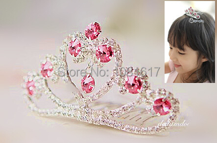 rhinestones tiara bridal hair accessories bridesmaid flower girls princess crystal tiaras crown for kids free ship b54(China (Mainland))