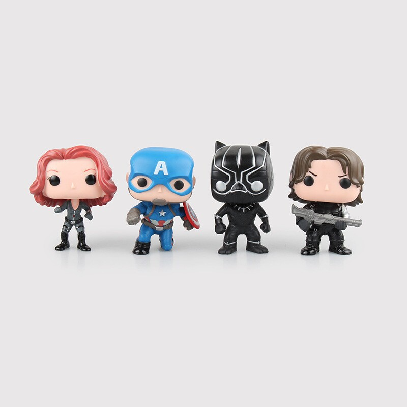 Hot sale 1pcs/ set Q version of the animation team of US soldiers in winter Panthers Black Widow Captain America doll model C159(China (Mainland))
