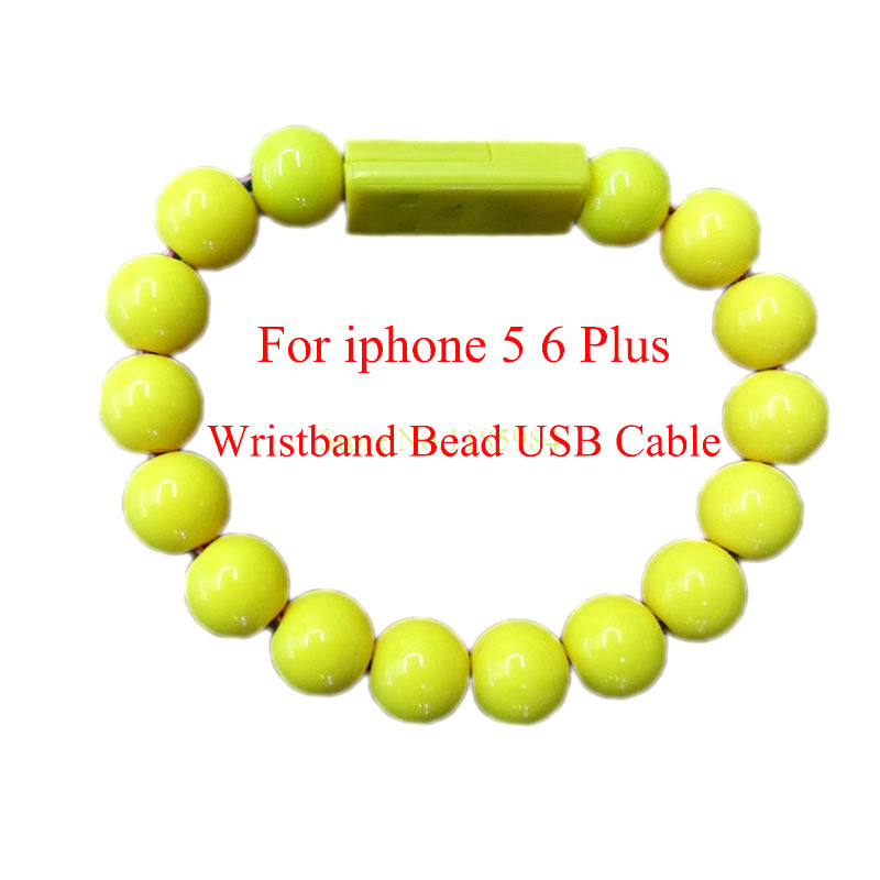 25CM 8 Pin Durable Wearable Wristband Wrist Band Bead USB Charger Cable Jewelry For iphone 5/5S/6/6 Plus For Samsung Android 1B3(China (Mainland))