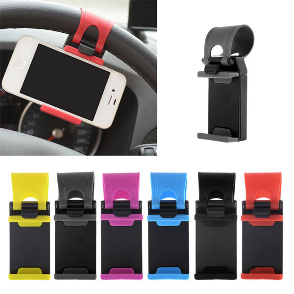 Hot Worldwide Car Steering Wheel Mount Holder Rubber Band For iPhone For iPod MP4 GPS Mobile Phone Holders(China (Mainland))