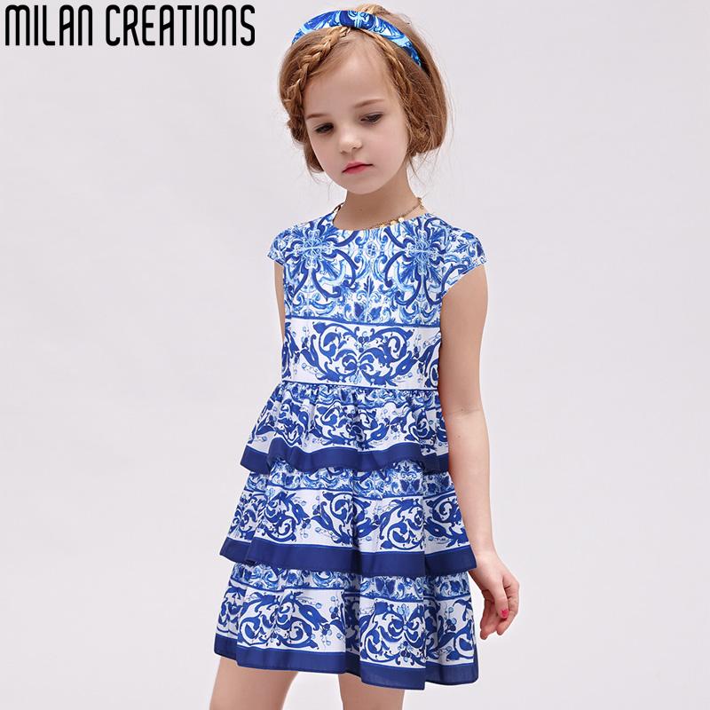 Milan Creations Girls Dress Princess Costume 2016 Spring Brand Kids Clothes Toddler Girls Dresses Layered Floral Children Dress<br><br>Aliexpress