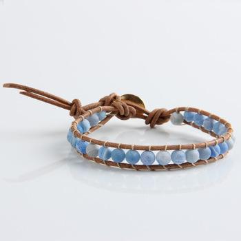 Новый этнические 1 Strands кожа агат 6 мм бусины плетение обернуть браслет для женщин ...