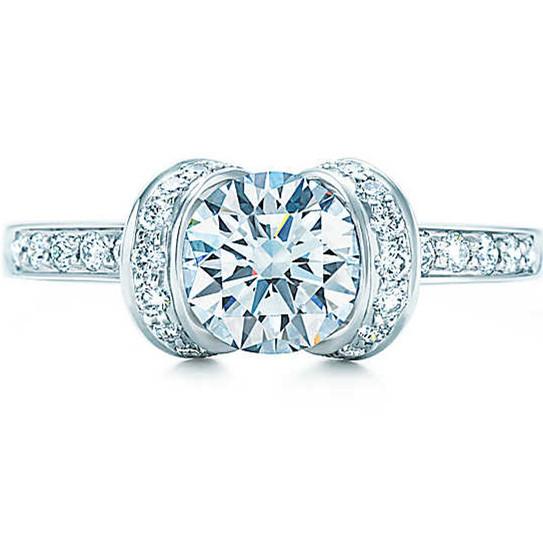 Genuien AU750 Marriage Jewellery 1CT Moissanite Promise Solid White Gold Engagement Jewelry Synthetic Diamond Genuine Gold Ring(China (Mainland))