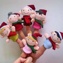 Cute New 6 Pcs Finger Doll Set Toy Children's Learn Play Story Funny Velvet Puppets Christmas Family Style HB88(China (Mainland))