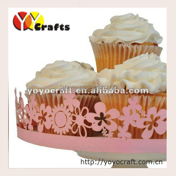 special design wedding & birthday supplies wholesale paper lace laser cut happy flower decorative birthday cake wrappers(China (Mainland))