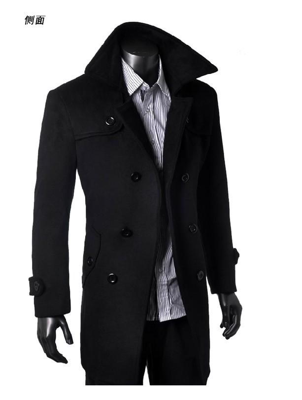2015 стильные зимние пальто мужчин шерстяные смеси peacoat мужчин теплая Шерсть долго грудью траншею пальто бушлат
