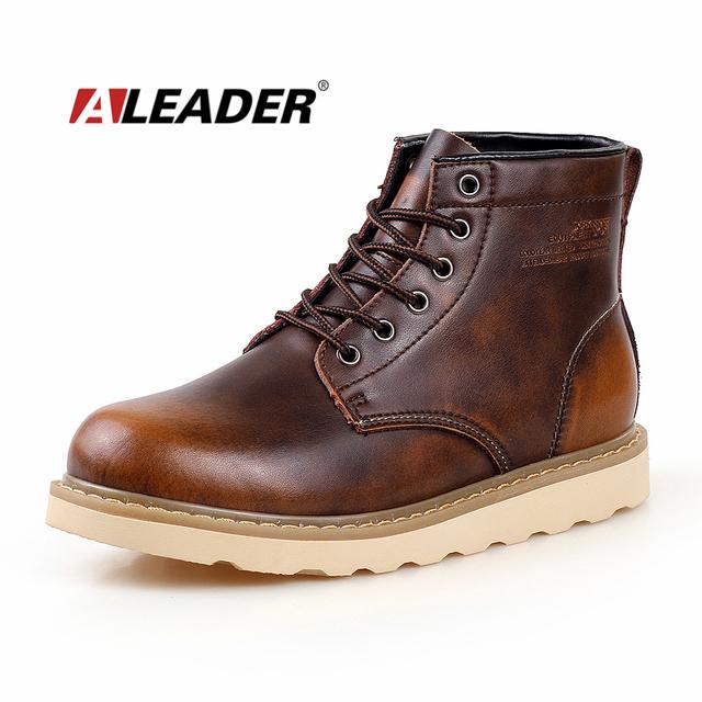 Водонепроницаемый мужские ботинки осень кожа обувь свободного покроя мужчины в мартин ...
