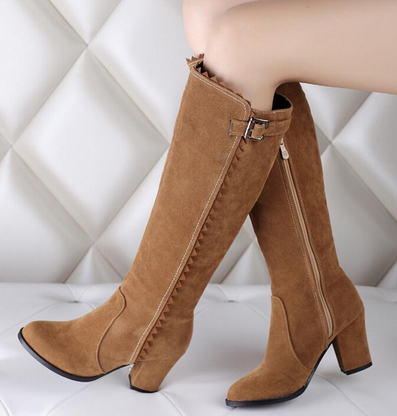 New women boots Winter Thick High Heels Platforms Motorcycle Boots Women Fashion Knee High Round Toe zipper Boots Sale<br><br>Aliexpress