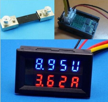 Red Blue LED DC 0-100V 10A Dual Voltage Display Meter Digital Voltmeter Ammeter Panel Amp Volt Gauge(China (Mainland))