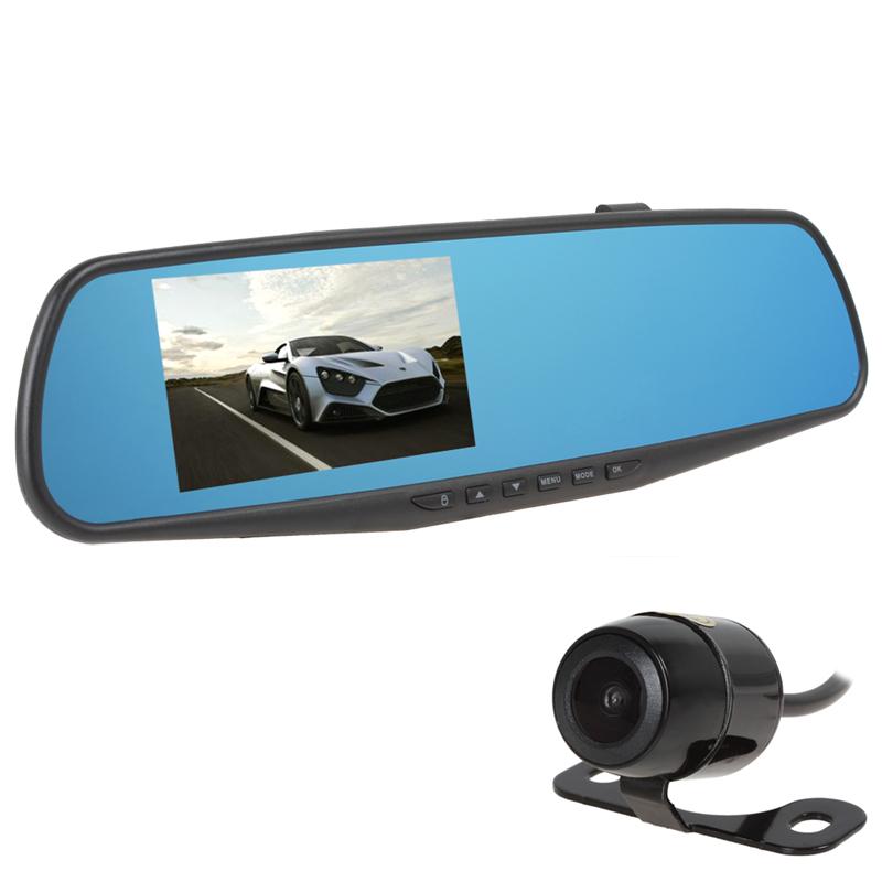 Hot Sale 4.3'' Full HD 1080P 4x Digital Zoom Rearview Mirror Video Recorder Car DVR Dual Night Vision Parking Camera G-Sensor(China (Mainland))