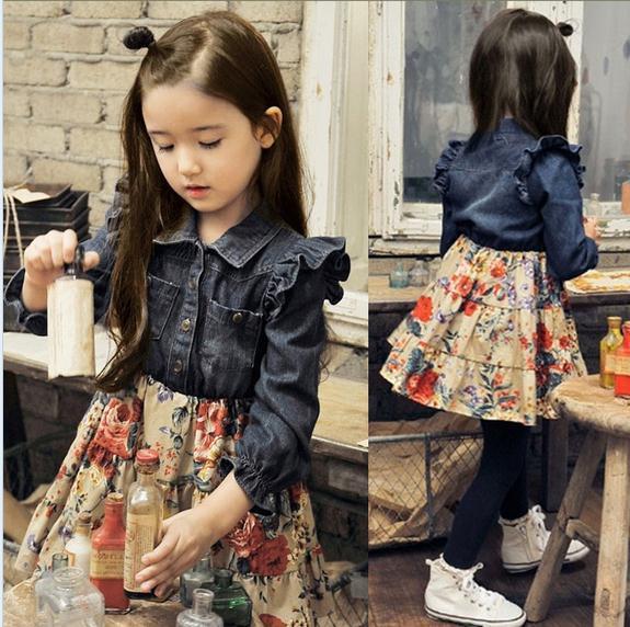 2014 fashion baby girl denim dress cotton long sleeve denim flower print spliced dress girls dress children dresses 5pcs/lot<br><br>Aliexpress