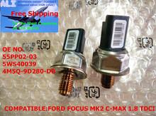 Sensata Genuine Fuel Rail Pressure Sensor For Ford Focus C-Max S-MAX Galaxy Mondeo Transit Tourneo 1.8 TDCi 5WS40039, 55PP02-03(China (Mainland))