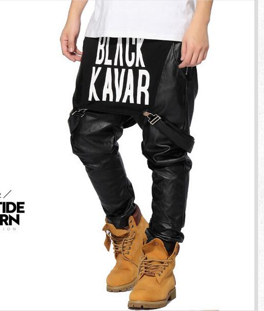 2015 Kanye West Jogger trousers Pants hip hop Jumpsuit PU ...