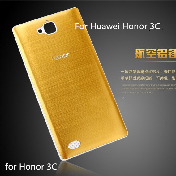 Premium Huawei Honor 3C Original Brushed Metal Battery Cover Case 3C+ Free Screen Protector - HM Technology Co.,Ltd store