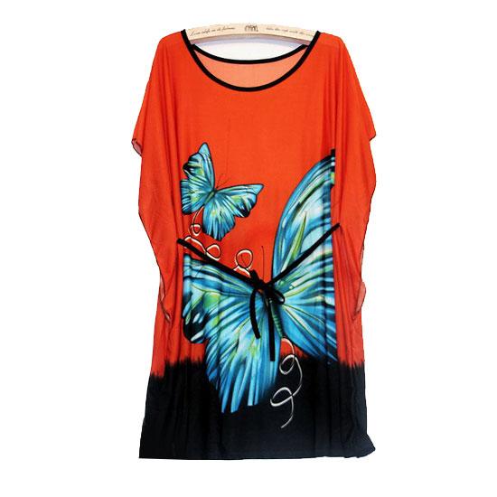 Wholesale New Fashion BOHO Style Vintage Blue Butterfly Mini Party Orange Dress For Women Summer Wear Clothing(China (Mainland))