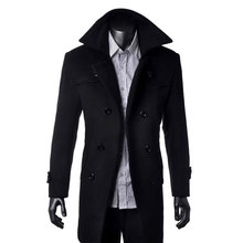 High Quality Trench Coat New Fashion Men Winter Slim Causal Thicken Business Long Double Breasted Jacket Plus Size S-4XL 0497(China (Mainland))