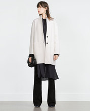 Fashion ZR 2015 New Autumn Original Navy Off-white Long Straight Out Stand Collar Loose Two buttons Wool Coat 7901/222 8073/245(China (Mainland))