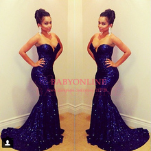 2014 Sparkling Sweetheart Purple Long Evening Gowns Sequins Mermaid Prom Dresses 2015 New Arrival With Train EV0001(China (Mainland))