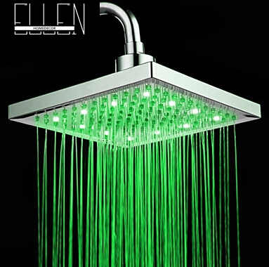 "LED square shower head 8"" rain shower light change power from water flow 3 color shower head(China (Mainland))"