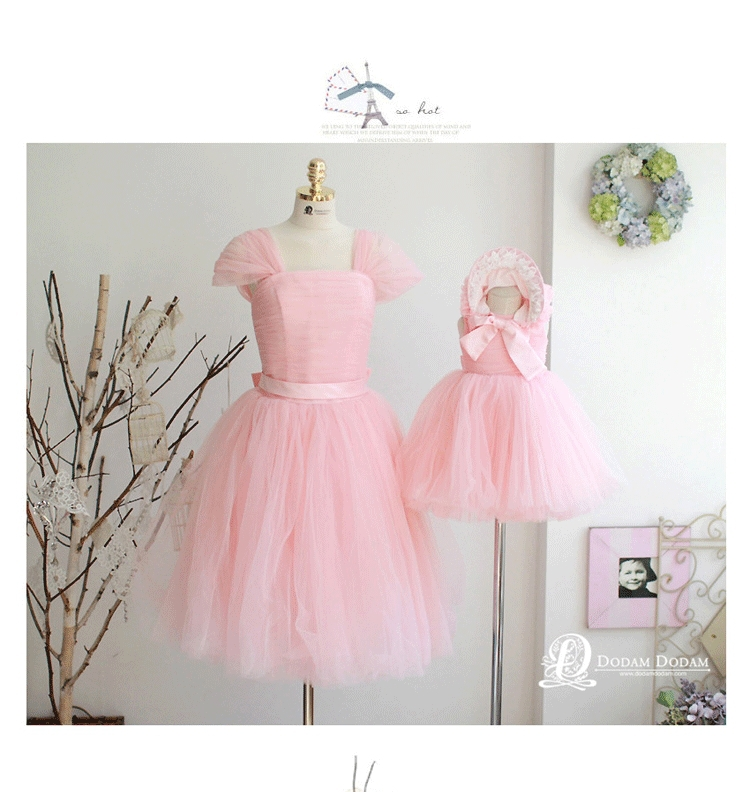 2015 pink princess pleated tulle mother daughter dresses 2 for Mother daughter dresses for weddings