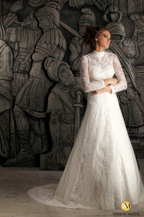 Simple Wedding Dress High Neck : Line high neck long sleeve see through lace wedding dress in