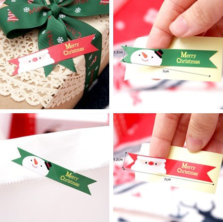 Limited 80pcs Merry Christmas Food Tag Label Gift Tag Stickers Cake Box Bag Photo Note Book Decoration Paper Hand Made Hot Sale(China (Mainland))
