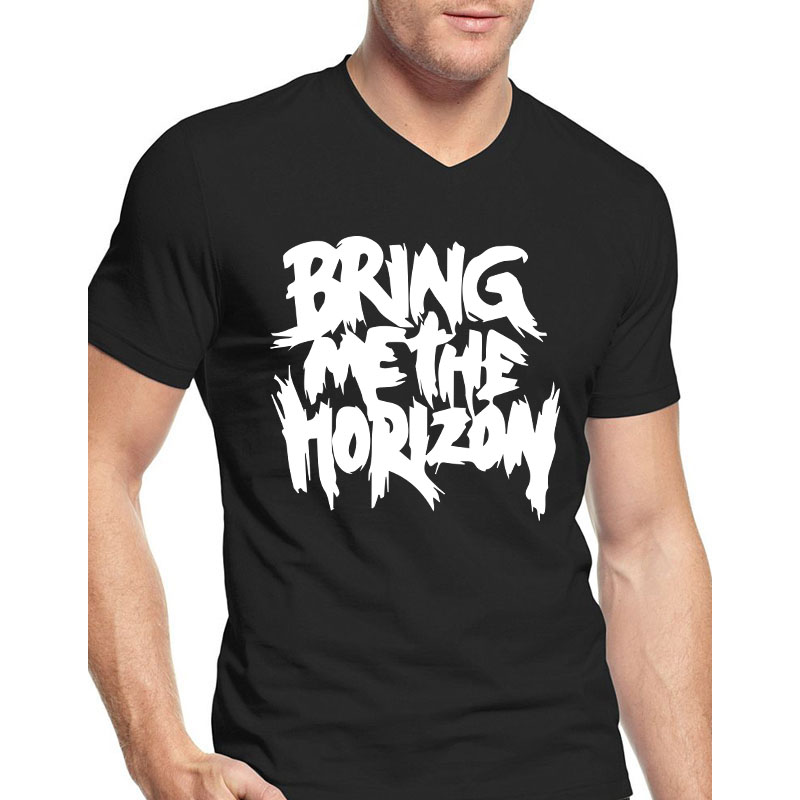 Bring Me The Horizon T Shirts Men Music Band Design Casual Fitness t shirt Cotton V-Neck Tops Short Sleeve Clothing