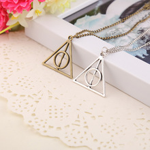 Wholesale 24pcs/lot Harry Luna Deathly Hallows Pendant Necklace Movie Fashion Long Chain Triangle Necklace(China (Mainland))