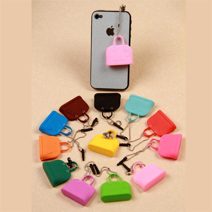 Mobile phone accessories wholesale 10pcs /lot New 2015 Hot Selling Kpop Kawaii Fashion Handbag Anti Dust Plug for Cell phones(China (Mainland))