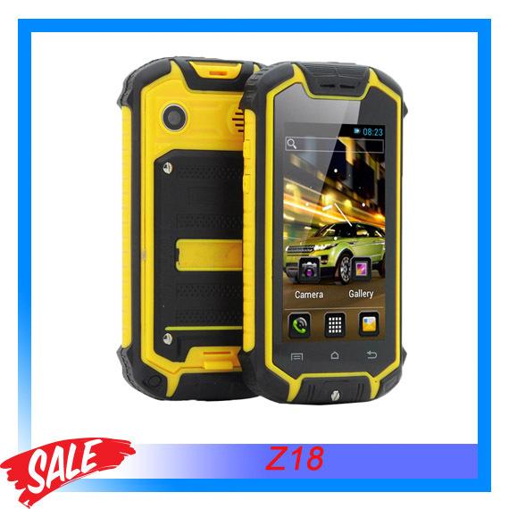 Original Z18 Waterproof Android 4.0 MTK6575 1.0GHz Dual Core ROM 128MB+RAM 256MB 2.45'' Smartphone Dual SIM Single Camera GSM(China (Mainland))