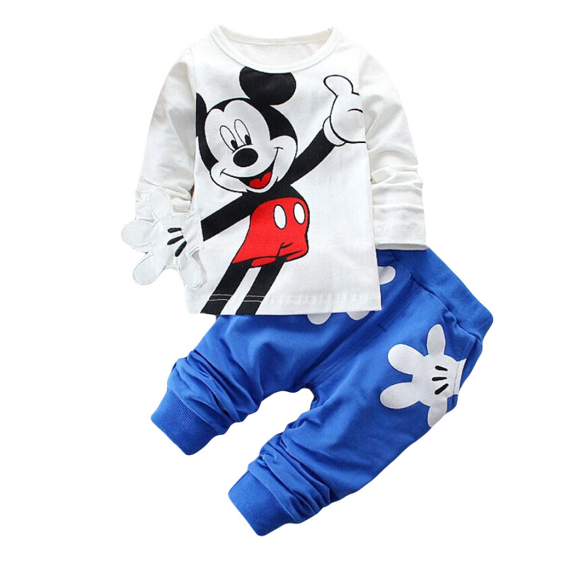 2015 Boys&amp;Girls Cotton Spring sport suit Kids Mickey Minnie Clothing set Kids fashion clothes baby boys&amp;Girls cartoon set<br><br>Aliexpress
