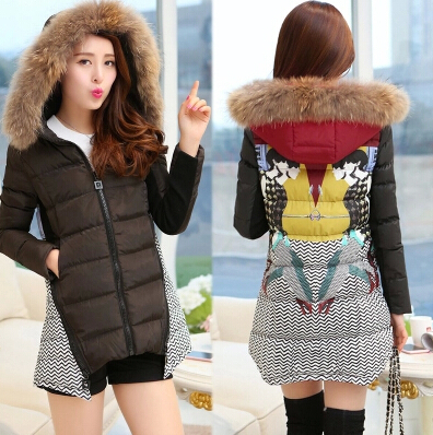 2015 new autumn and winter jacket women fashion long cotton-padded Korean mixed colors slim winter coat