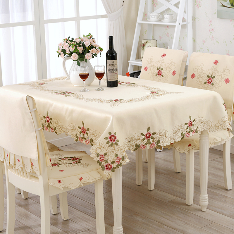 Dobby Flower Embroider Edges Cotton Fabric Tablecloth For Home Use Elegant Modern Style Table Cloth Table Cover(China (Mainland))