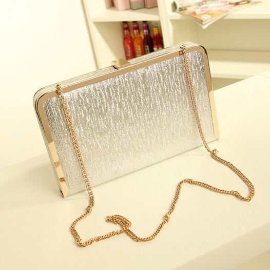 Dinner 2015 dazzle bright women's day clutch handbag gold chain small box bags silver clutch(China (Mainland))