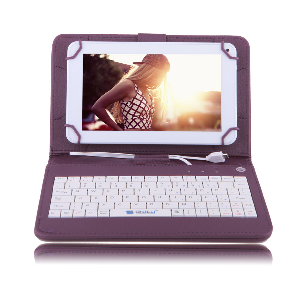 "IRULU eXpro X1c 7"" Tablet Android Allwinner 8GB 7 inch Quad Core Cheap Internet Tablet White w/ Purple Keyboard Case 2015 Newest(China (Mainland))"