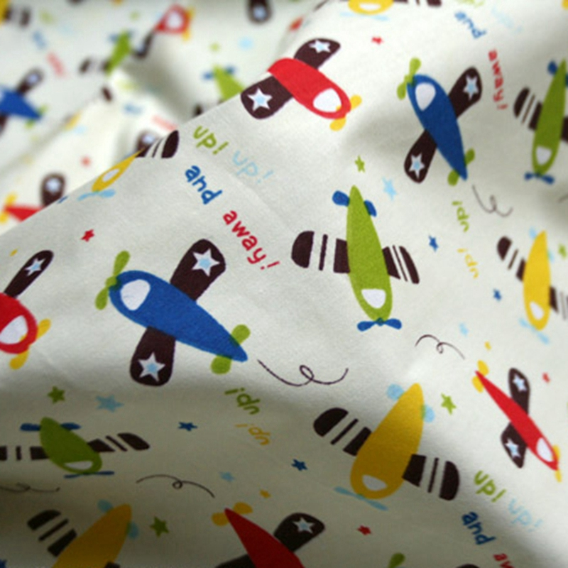 100 cotton fabric with printed cartoon baby bedding for Airplane print cotton fabric