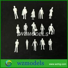 300pcs Mini 1:100 Scale Model Figures Generic White Unpainted Train Figures Pattern Model People
