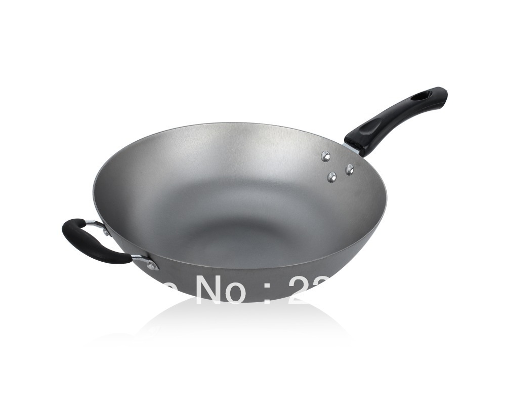 Iron coating wok cast iron wok cast iron pan cooking electromagnetic furnace cooking pots and pans 32cm(China (Mainland))