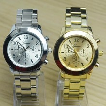 Luxury Full Stainless Steel Gold Rose Gold Silver Geneva Quartz Wristwatch Wrist Watch Gift  for Women Men Girls Ladies