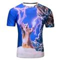 2016 Men s Fashion 3D Animal Creative T Shirt Lightning smoke lion lizard water droplets 3d