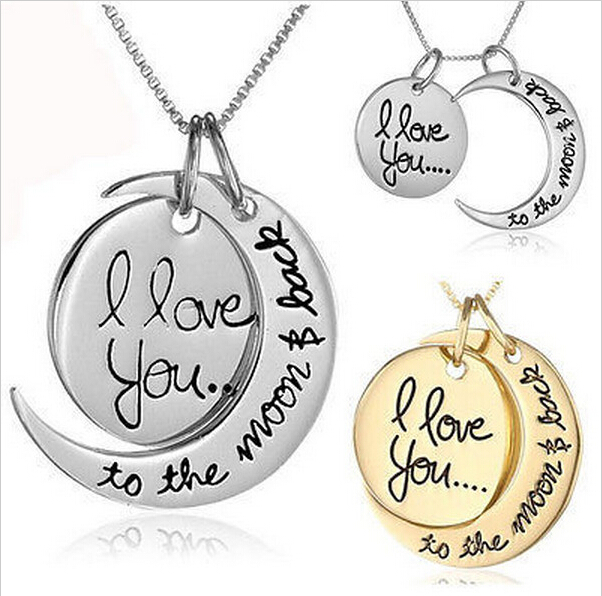 """New Arrival """"I Love You To The Moon and Back"""" Pendant Necklace Jewelry Mother's Day Gift Woman Fashion Chain Statement Necklace(China (Mainland))"""