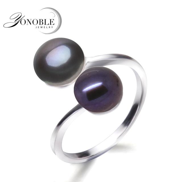 YouNoble Свадебное черное кольцо натуральный жемчуг кольца для женщин серебро 925 двухместный перл кольца регулируемая жена летие подарок на день рождения