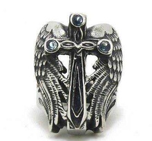 Size 8-13 Amazing Design Silver Cross Ring With Flying Wings 316L Stainless Steel Cool Fashion Mens Chinese Yin Yang Ring(China (Mainland))