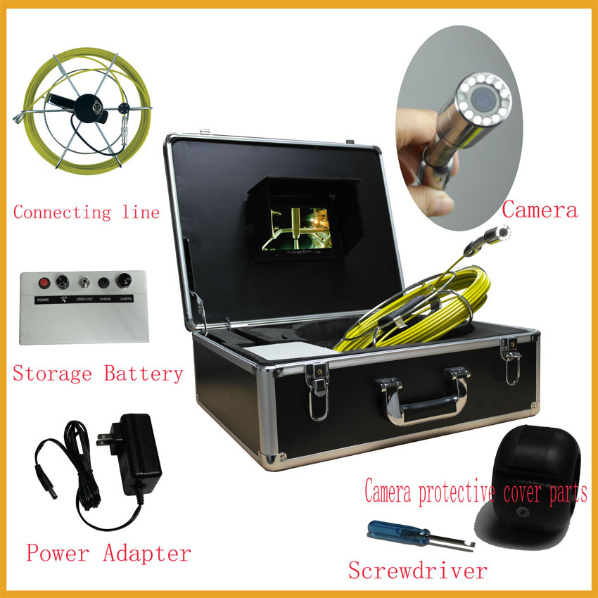 50M industrial endoscope underwater video system/pipe wall inspection system 50M pipe camera free shipping(China (Mainland))