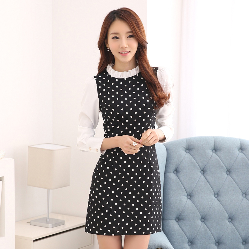 real pictures S-XXL 2015 autumn one-piece dress slim autumn and winter basic chiffon polka dot dresses FA015(China (Mainland))