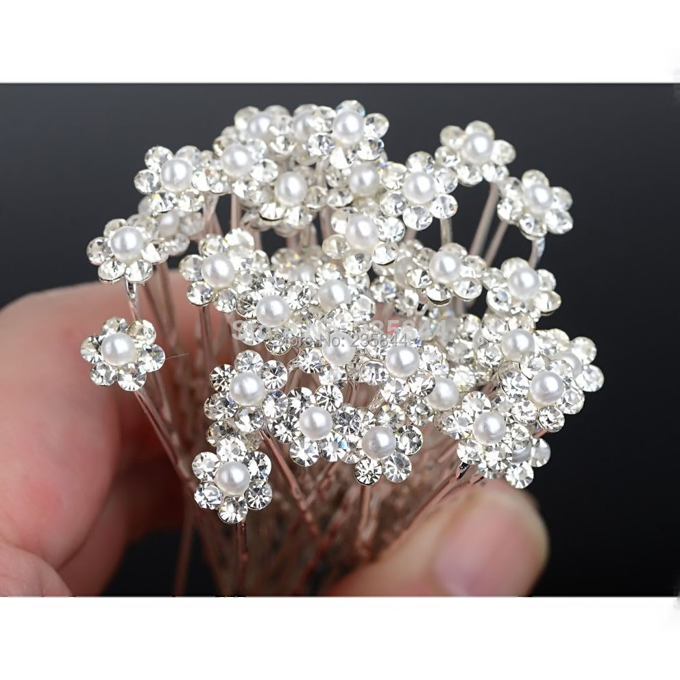2 Silver Crystal Hair Pins Rhinestone Clips Baby White Pearl Jewelry Accessories Bridal wedding jewelry H6567 P - All Dresses store