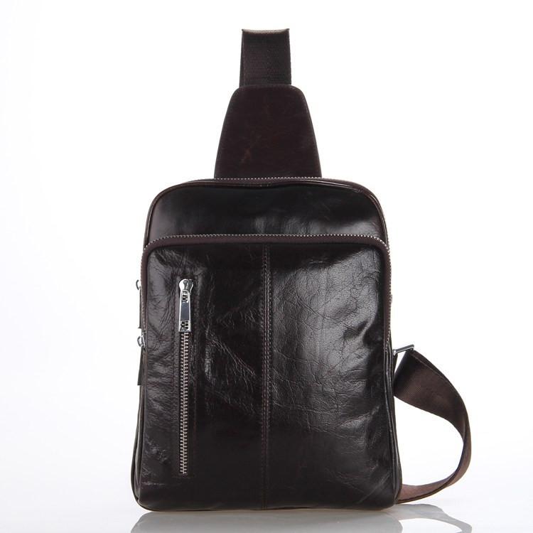 ซื้อ ที่มีคุณภาพสูงวินเทจแคชชวล100%หนังแท้ของแท้ผู้ชายหน้าอกกระเป๋าหนังวัวหนังMessengerถุงขนาดเล็กกระเป๋าสำหรับผู้ชาย# VP-J7215