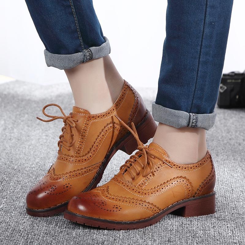 2015 New Bullock Vintage Women Flats Thick Heel Oxford ...